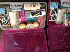 """Back to School gift for teachers.  """"Mrs. ____ Back to School, Survival Kit"""" written on the front. Use a hard plastic pencil box, fill with basic necessities like hand sanitizer, a clif bar, gum, mints, chocolate, deodorant, Kleenex, Chapstick, lotion and Advil What a nice idea!!"""