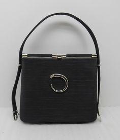 d7817f8377 Vintage 50s 60s Ladies Black Cartier Hand Bag Purse 13630