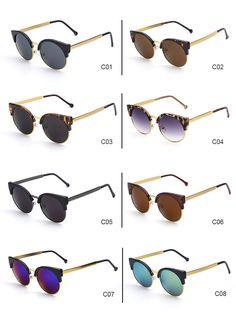 SUNKISS CatEye Óculos De Designer de Moda Retro Vintage Rodada Círculo Semi  Óculos Sem Aro 2016 006d7e26d6