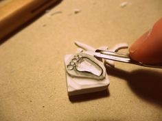 handmade rubber stamp making, micro foot :)