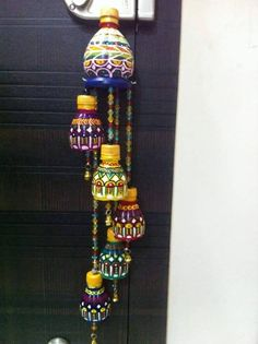 one of my known made this wind chime from waste bottles