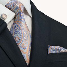 $44.99 | Grey/Peach and Blue Paisley JPM67T – Toramon Necktie Company