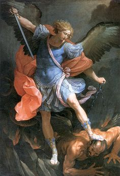 Guido Reni (1575-1642) The Archangel Michael Defeating Satan Oil on Canvas -c1635