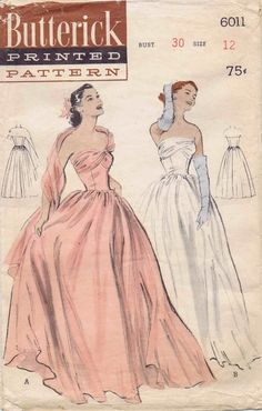 1950s Strapless Boned Evening Gown with Stole Butterick 6011 Vintage Sewing Pattern Size 12 Bust 30
