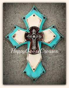 Wall Wood Cross - Medium - Antiqued Turquoise, Stain, and Beige , with a large open iron cross Wooden Crosses, Crosses Decor, Wall Crosses, Decorative Crosses, Cross Drawing, Cross Love, Turquoise Walls, Cross Art, Cross Crafts
