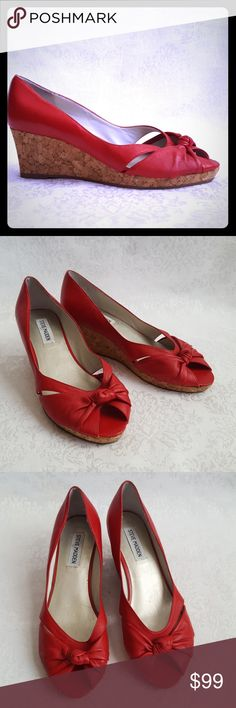"""Steve Madden Red Leather Cork Wedge Steve Madden red leather peep toe heels with 2 1/2"""" cork wedge heel. Style is """"LOLIC"""".  Excellent used condition. Smoke free and pet free home.  Check out my other listings - 100's of 👠shoes👠, 👢boots👢 and 👜bags👜. Bundle 2 or more and save money!💲💰💲I20a8 Steve Madden Shoes Wedges"""
