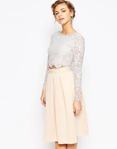 Coast Sardinia Lace Crop Top in Gray