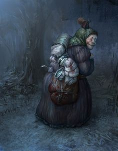 Scary Tales: Baba Yaga by karola-j on DeviantArt. Baba Yaga or Baba Roga (also known by various other names) is a hag or witch in Slavic folklore. She flies around on a giant mortar, kidnaps (and presumably eats) small children, and lives in a hut that stands on chicken legs.