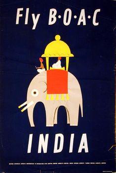 Fly BOAC - India, Aldo Cosomati 1953