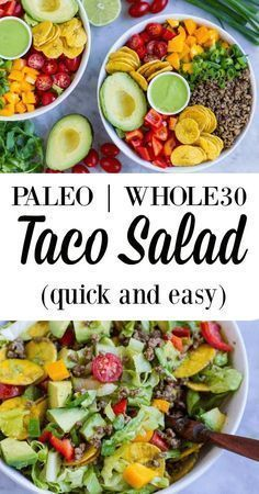quick and easy taco salad that can be thrown together in less than 15 minutes. Gluten and grain free.A quick and easy taco salad that can be thrown together in less than 15 minutes. Gluten and grain free. Whole 30 Diet, Paleo Whole 30, Whole 30 Salads, Paleo To Go, Whole 30 Snacks, Whole 30 Lunch, Whole Food Recipes, Diet Recipes, Healthy Recipes