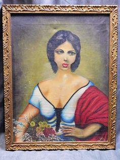 TABLEAU ANCIEN HUILE SUR TOILE SIGNE FRAN VAR  PORTRAIT DE FEMME