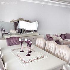 Beyaz, Dekoratif, Konsol, Mor, Salon, Yemek Odası