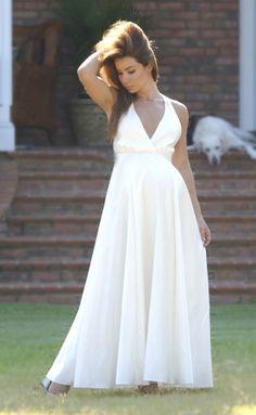 White Long Evening Wedding Party Dress Lightweight Sundress Plus ...