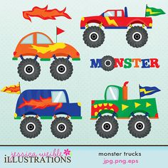Monster Trucks Cute Digital Clipart for Card Design. $5