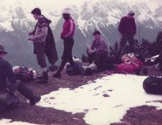 Mountaineering in Bavaria. L to R: Phil Newman, unknown, Jeff Trotman, unknown, Paul Farrer. Note high-tech gear and weatherproof clothing.