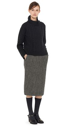 AUTUMN WINTER 14 - Black merino / cashmere jumper, black / grey wool houndstooth skirt, charcoal wool sock (MHL) black leather sandal