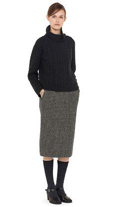 AUTUMN WINTER 14 - Black merino / cashmere jumper, black / grey wool houndstooth skirt, charcoal wool sock (MHL) black leather sandal