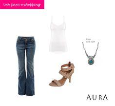 Pronta pra dar uma volta no #shopping? Com uma calça flare, blusinha básica e um #colar não tem como errar. (Cod. do colar: 6208) #moda #dica #lookdodia #turquesa