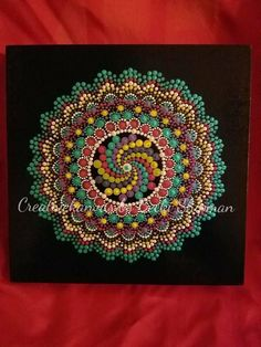 Original handpainted acrylic dot mandala painting.  Done on