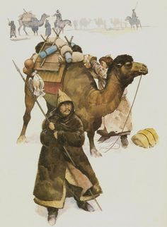 Mongols in winter coats with pack-camel (C. 1211-1260).
