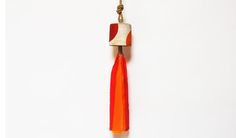 Red & Marigold Eclipse Bell- Stoneware, Hemp