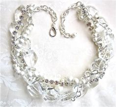Chunky Crystal Necklace, Pearl, & Rhinestone Wedding Statement Necklace White Chunky Bridal Necklace Bridal Jewelry