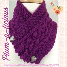 #cpromo Plum Cable Neckwarmer Silver Heart Buttons Hand knit with Caron Simply Soft Fuchsia