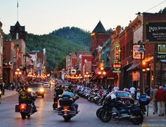The Sturgis rally hasn't even officially started, but Deadwood is full of bikes. If you are in the Black Hills for the rally be sure to make a stop in Historic Deadwood. Sturgis Bike Week, Sturgis Motorcycle Rally, Bike Rally, Motorcycle Rallies, Motorcycle Camping, Sturgis 2015, Sturgis Sd, Motorcycle Art, Great Places
