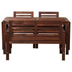 "ÄPPLARÖ Table, bench and 2 armchairs - IKEA Table (min. length 55"", max. length 102"", width 30 3/4"", height 28""). Chair (width 24 3/8"", depth 25 5/8"", height 32"", seat width 19"", seat depth 19"", seat height 16""). Bench (width 46"", depth 25 5/8"", height 31 1/2"", seat width 45 1/2"", seat depth 20 1/2"", seat height 16 1/2"")."