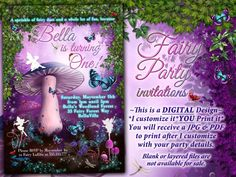 Fairy Invitation Fairy Party Invitation Birthday by BellaLuElla Garden Birthday, Fairy Birthday Party, Birthday Parties, 4th Birthday, Fairy Party Invitations, Birthday Invitations, Winter Party Foods, Fairy Baby Showers, Mason Jar Garden