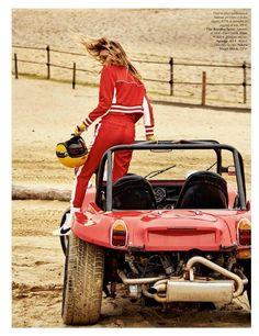 Edita Vilkeviciute | Race Track Fashion Editorial | Vogue Paris