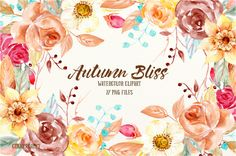 Watercolor Clipart Autumn Bliss by Corner Croft on @creativemarket