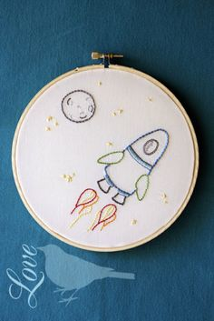 Super cute outer space free embroidery pattern