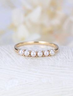 Rose Gold ring pearl ring Solid 14K gold wedding ring Dainty Pearl Jewelry Birthstone Delicate Promise Stacking Anniversary gift for women Description: - classic style pearl ring - 6 natural Pearl - comfortable band Natural Pearl -Pearl: Round-shaped pearl 2.5mm*6 diameter Shape -