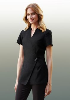 Spa Wrap Tunic - Polyester Elastane Premium stretch fabric - Ladies - Uniform Page Salon Uniform, Spa Uniform, Hotel Uniform, Scrubs Uniform, Dental Uniforms, Healthcare Uniforms, Beauty Therapist Uniform, Beauty Tunics, Modern Aprons