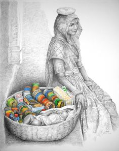 Indian Artwork of Punjabi women selling Churi Indian Artwork, Indian Folk Art, Indian Art Paintings, Indian Artist, Indian Women Painting, Human Figure Sketches, Figure Sketching, Figure Drawing, Pencil Art Drawings