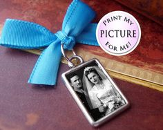 Back By Popular Demand - Double Sided Something Blue Photo Charm Memorial - Silver Rectangle - Includes Two Picture Printing Services. $8.99, via Etsy.