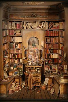 miniature dollhouse library - terrific staging - David Sculpher