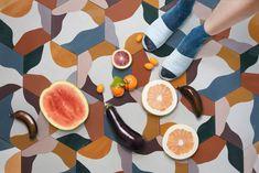 Fruit Salad - White - Red - Cement Hex Tile White Interior Design, Interior Design Inspiration, Paper Fruit, Hex Tile, Cement Tiles, Intramuros, Encaustic Tile, Stencil Painting, Color Tile