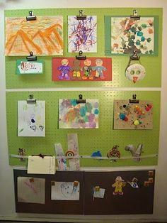 Using a pegboard to display artwork