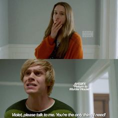 Ok Tate is a rapist [.] but this scene really broke my hearth. American Horror Story Memes, Tate Ahs, Tate And Violet, Someone To Love Me, Tv Couples, Evan Peters, Best Series, Stupid Memes, Best Tv