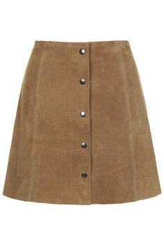 - TOPSHOP Suede Button Through A-Line Skirt