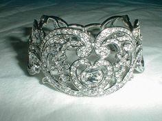 vintage kjl crystal heart bracelet bridal by qualityvintagejewels, $225.00