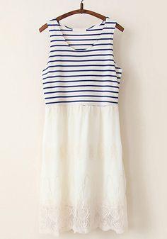 Navy Blue Patchwork Striped Falbala Cotton Blend Dress $33