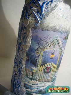 декупаж бутылки на новый год