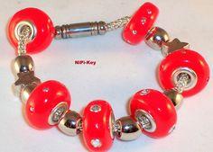 Polymer Clay Modulbracelet red,silver with Swaro...chatons*KLASSIKROT *  von NiPi-Key auf DaWanda.com