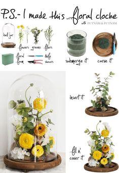 DIY flower cloche: PS I did this - Putnam & Putnam Fake Flowers, Diy Flowers, Flower Crafts, Flower Art, Cloche Decor, Dried Flower Arrangements, Silk Flower Centerpieces, How To Preserve Flowers, How To Dry Flowers