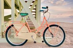 vintage pink bike on the beach?  yes, oh yes