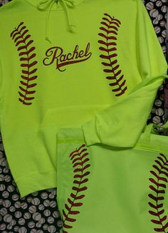 ADULT Softball HOODIE with laces and monogram or by AndMore2004