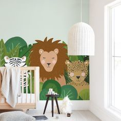 """Be wild"" kids' removable wall mural by Juliana Zimmermann only available from Minted. A fun illustration with a zebra, a lion and a leopard. Easy to install, easy to remove. Childrens Wall Murals, Kids Wall Murals, Nursery Wall Murals, Custom Wall Murals, Removable Wall Murals, Childrens Room Decor, Nursery Themes, Room Themes, Dorm Art"